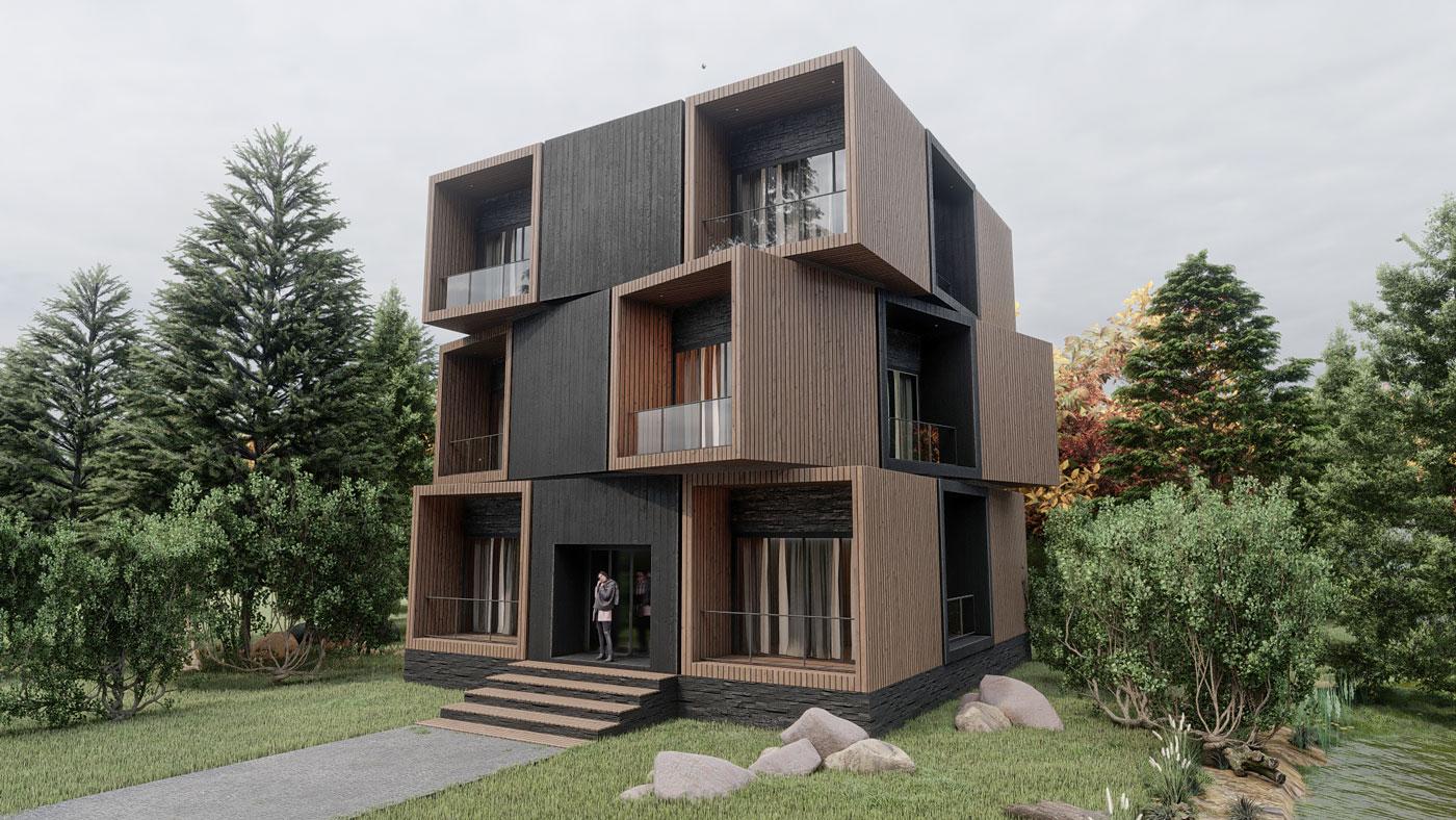 3d visualisierung containerhaus wald desigg