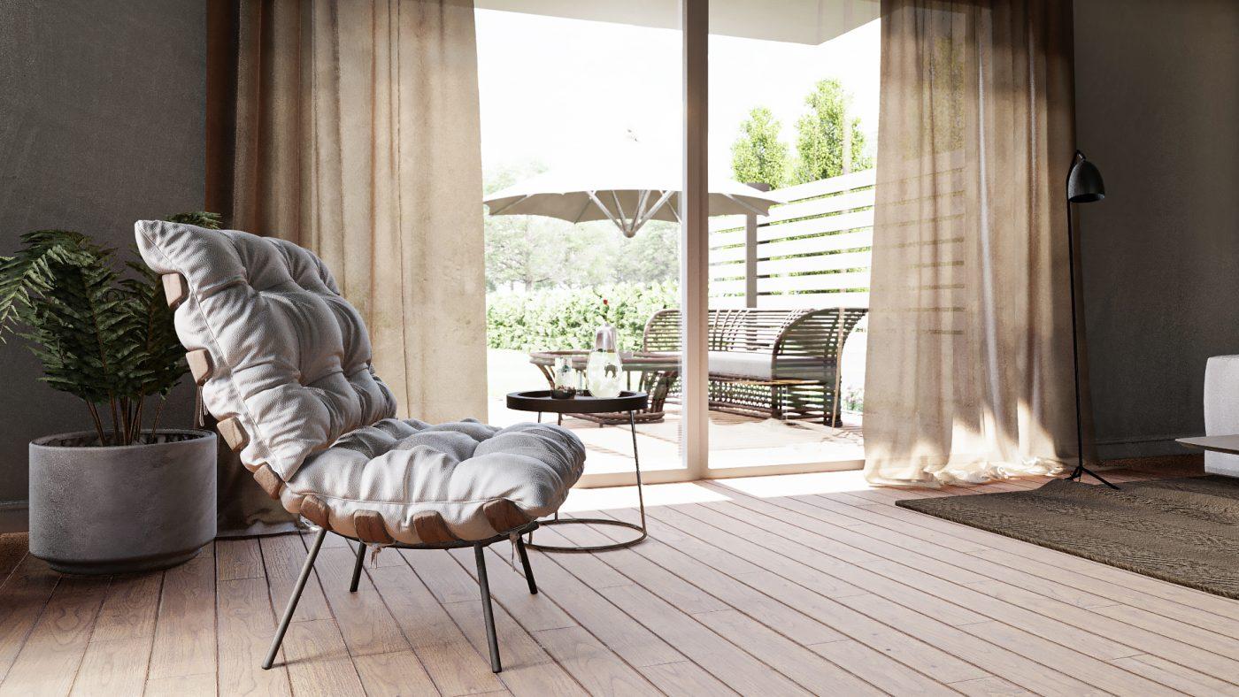 3d visualisierung von einem stuhl